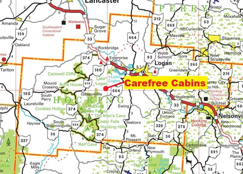 Map of Carefree Cabins in Hocking Hills